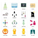 Set of cell tower, fire hydrant, folded hands, cost uction, travel agent, christmas bulb, page turn, buffering, next steps icons. Set Of 16 simple editable icons Stock Photography