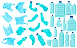Set of cellophane bags, crumble bottles and plastic bottles. Plastic pollution. Ecology problem vector illustration