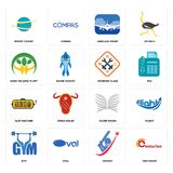 Set of centurion, cricket, gym, silver wings, slot machine, working class, hand holding plant, airplane front, import export icons. Set Of 16 simple  icons such Stock Images