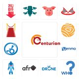 Set of centurion, who, drone photography, afro, shark mascot, venmo, handicap accessible, golden rose, carpet icons. Set Of 13 simple editable icons such as Stock Photography