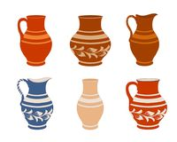Set of ceramic crockery. Collection jugs in different variation. Rustic pottery utensils, colorful vector illustration for your design. Horizontal location royalty free illustration