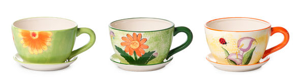 Set of ceramic cup style flowerpots Stock Photo