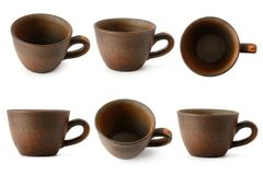 Set of ceramic cups with different camera angles isolated on whi. Te background. Clipping path Stock Photo