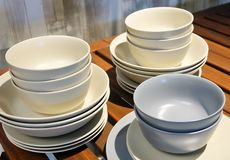 Set of Ceramic Dishes, Bowls and Plates Royalty Free Stock Photos