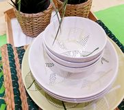 Set of Ceramic Dishes, Bowls and Plates Stock Image