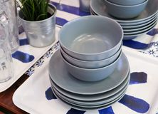 Set of Ceramic Dishes, Bowls and Plates Royalty Free Stock Image