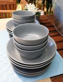 Set of Ceramic Dishes, Bowls and Plates Stock Photos
