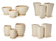 Set of ceramic flowerpots. With clipping path Royalty Free Stock Photos