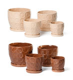 Set of ceramic flowerpots for indoor plants. On white background Stock Photography