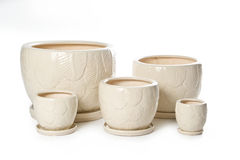 Set of ceramic flowerpots for indoor plants Stock Image