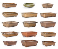 Set of ceramic flowerpots. On white background Royalty Free Stock Photos
