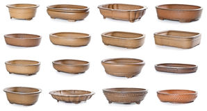 Set of ceramic flowerpots. On white background Stock Image