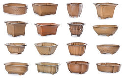 Set of ceramic flowerpots. On white background Stock Photo