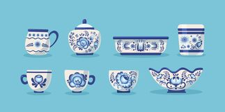 Set of ceramic kitchen utensils or crockery. Ceramic kitchen utensils or crockery - bowl, cups, bowls, cup, saucepan, sugar ice-cream bowl. Crockery russian stock illustration
