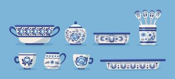 Set of ceramic kitchen utensils or crockery. Ceramic kitchen utensils or crockery - bowl, cups, bowls, cup, saucepan, sugar and ice-cream bowl. Crockery russian stock illustration