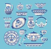 Set of ceramic kitchen utensils or crockery. Crockery russian ceramic cookware decorative tableware items russian ornaments and flower in gzhel style vector illustration