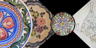 Ceramic plates. Set of ceramic plates of different designs Royalty Free Stock Images