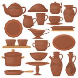 Set of ceramic pottery. Beautiful clay dishes with decorative ornament. Ceramic pottery. Beautiful clay dishes with a decorative ornament. Kitchenware, ceramic vector illustration