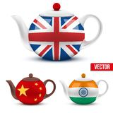 Set of ceramic teapot with flag British, India and Stock Images