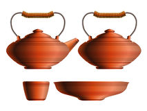 Set of ceramic teapot, sugar pot, cup and saucer Royalty Free Stock Photos