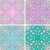 Set of ceramic tiles with beautiful ornament and cute birds in pastel tones. Vector illustration Stock Image