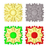 Set ceramic tiles and gold Stock Images