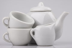 Set of ceramic ware on a white background Royalty Free Stock Image