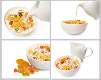 Set of cereal and milk royalty free stock images