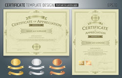 Set of certificate of appreciation template with award ribbon on. Abstract guilloche background with vintage border style Stock Photos
