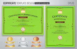 Set of certificate of appreciation template with award ribbon on Stock Photography
