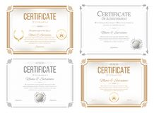 Set of certificates of appreciation. Award certificate, diploma template in retro style stock illustration