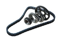 Set of chains and gears Royalty Free Stock Image
