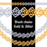 Set of chains metal brushes - gold and silver Royalty Free Stock Photos