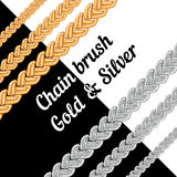 Set of chains metal brushes - gold and silver. Stock Photos