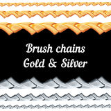 Set of chains metal brushes - gold and silver. Royalty Free Stock Images