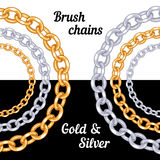 Set of chains metal brushes - gold and silver. Stock Photography