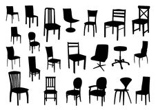 Set of chair silhouettes Stock Image