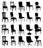 Set of chair silhouettes. Vector set of black chair silhouettes Royalty Free Stock Photo