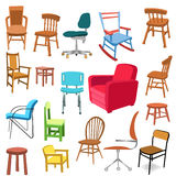 Set of chairs. Illustrations of different chairs, for office, home or business Stock Image