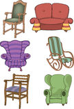 Set of chairs and armchairs Royalty Free Stock Images