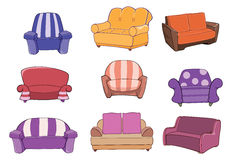 Set of chairs and armchairs Stock Photo