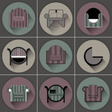Set of chairs in different colors and shapes, vector icons in the form of furniture Royalty Free Stock Images