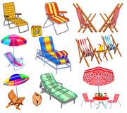 Of a set of chairs, sun beds and umbrellas for the beach. Stock Photo