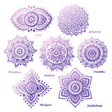 Set of 7 chakras. Set of beautiful ornamental 7 chakras Royalty Free Illustration