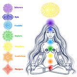 Set of 7 chakras. Isolated Set of beautiful ornamental 7 chakras Stock Illustration