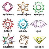 Set of chakras symbols. Vector set of chakras symbols. Energy centers in yoga Royalty Free Illustration