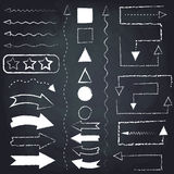 Set of chalk arrows and symbols. Royalty Free Stock Photo