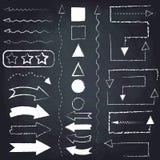Set of chalk arrows and symbols. Hand drawn illustration. Chalkboard background stock illustration