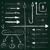 Set of chalk arrows and symbols. Hand drawn illustration. Chalkboard background vector illustration
