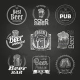 Set of chalk beer drawings. Chalk decorative labels vector illustration